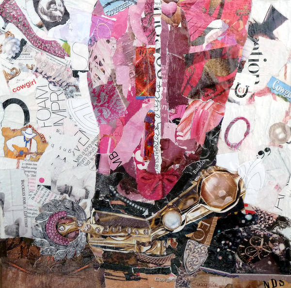 Torn Paper Collage Poster featuring the painting Pink Boot 2 by Suzy Pal Powell