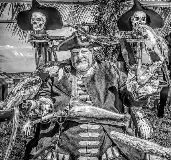 Pirate Captain Poster featuring the photograph Pirate Captain And Parrots Black And White by Garry Gay