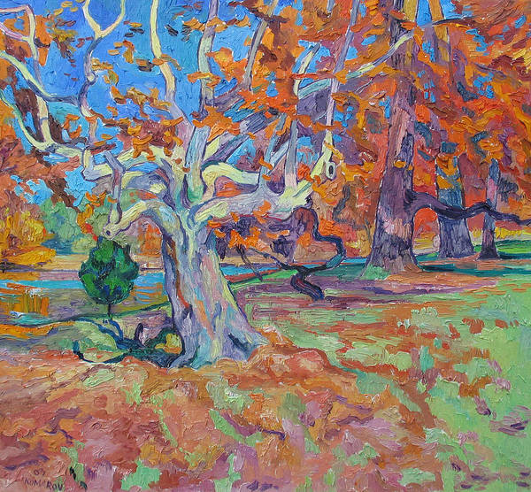 Platan Poster featuring the painting Platan Tree In Sunny Autumn by Vitali Komarov