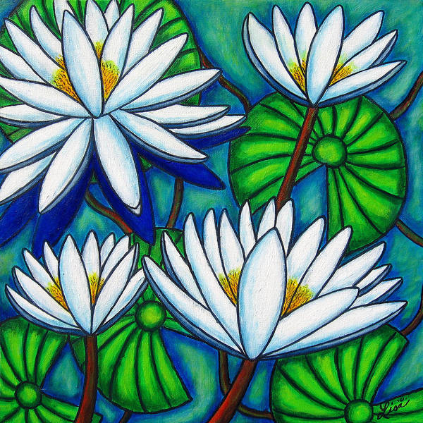 Water Lilies Poster featuring the painting Pond Jewels by Lisa Lorenz