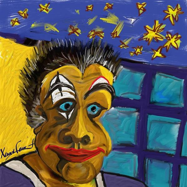 Figurative Poster featuring the painting Portrait Of A Clown by Xavier Ferrer
