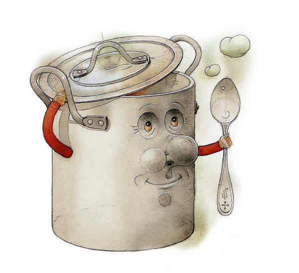 Pot Kitchen Food Cooking Soup Poster featuring the painting Pot by Kestutis Kasparavicius
