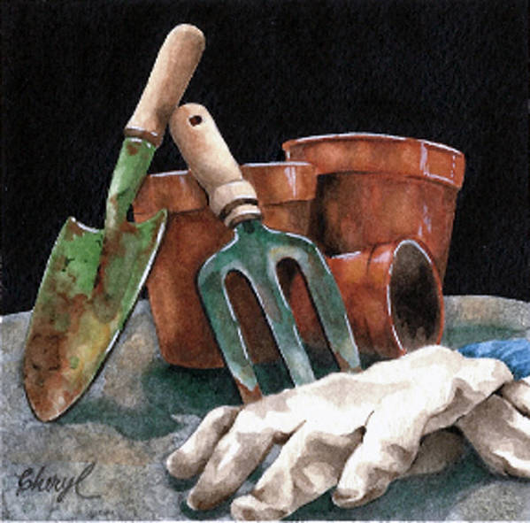 Gardening Tools Poster featuring the painting Pot Party by Cheryl Bannister