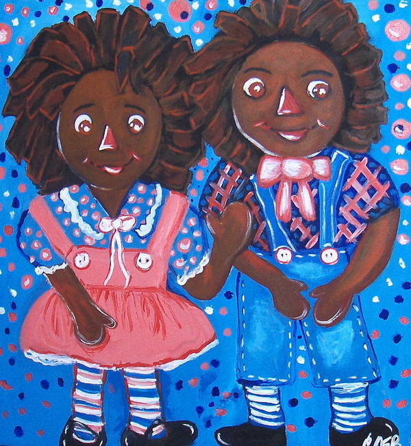 African American Art Poster featuring the painting Pretty Peter And Penny by Clara Spencer