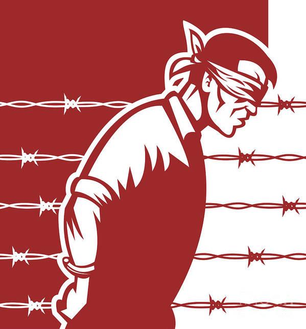 Prisoner Poster featuring the digital art Prisoner Blindfolded by Aloysius Patrimonio