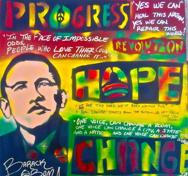 Barack Obama Poster featuring the painting Progress by Tony B Conscious