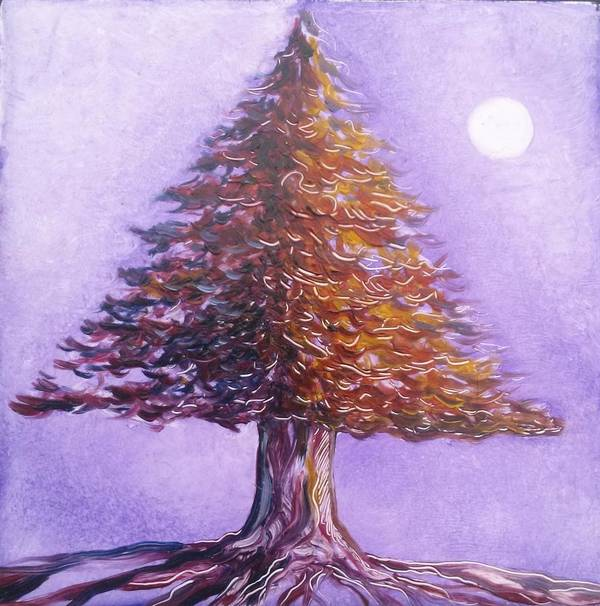 Purple Poster featuring the painting Purple Pine by Karen Doyle