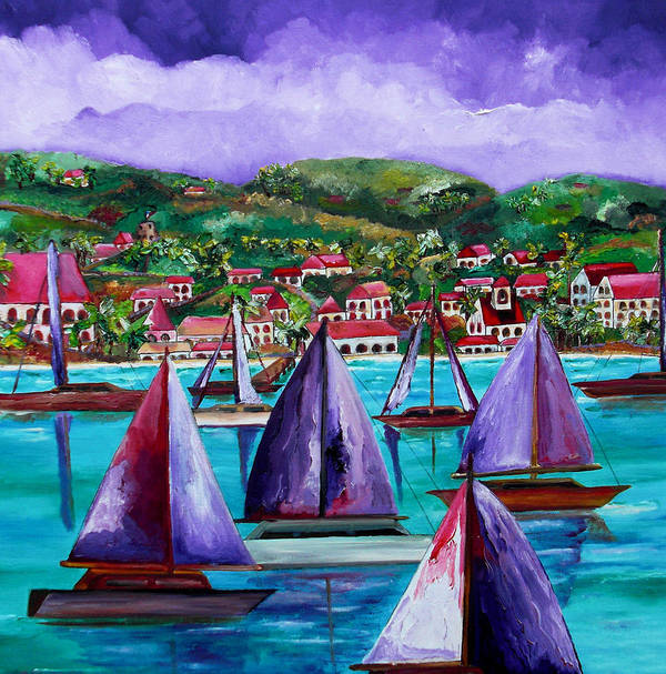 Usvi Poster featuring the painting Purple Skies Over St. John by Patti Schermerhorn
