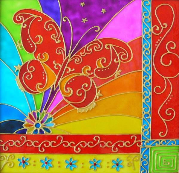 Rainbow Poster featuring the painting Rainbow Butterfly by Danuta Duminica