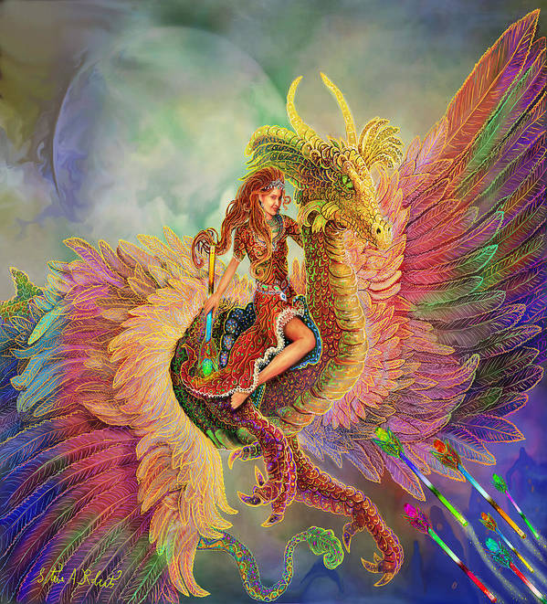 Dragon Fantasy Paintings Poster featuring the painting Rainbow Dragon by Steve Roberts