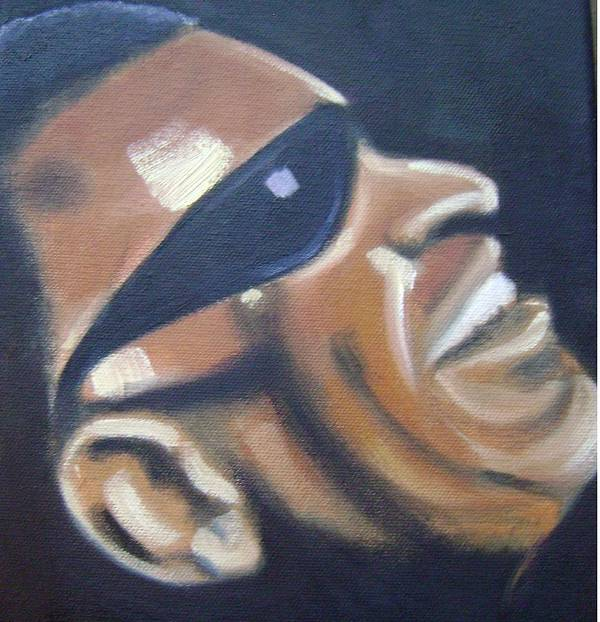 Ray Charles Poster featuring the painting Ray Charles by Toni Berry