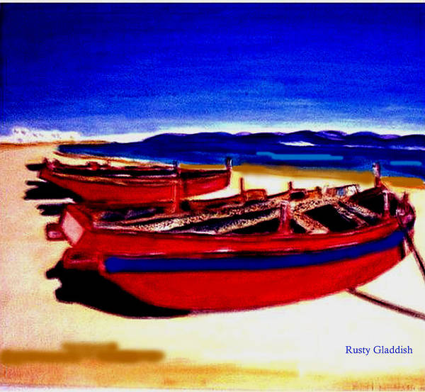 Boats Poster featuring the painting Red Boats by Rusty Gladdish