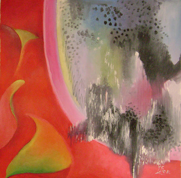 Abstract Poster featuring the painting Red Ecstasy 2 by Lian Zhen