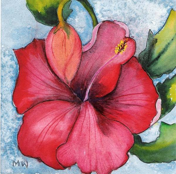 Red Flower Hibiscus Watercolor Painting Floral Poster featuring the painting Red Flower by Marsha Woods