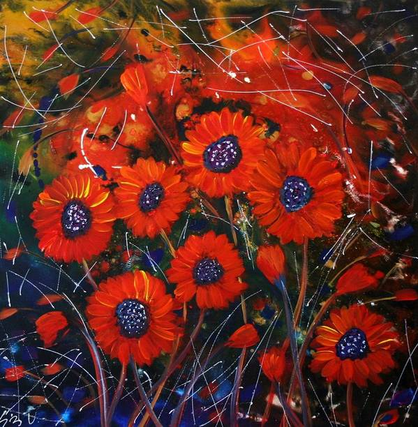 Flowers Poster featuring the painting Red Flowers In The Night by Luiza Vizoli
