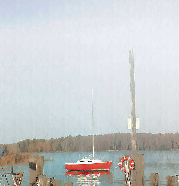 Bay Poster featuring the photograph Red Sailboat In The Fog by Bill Cannon