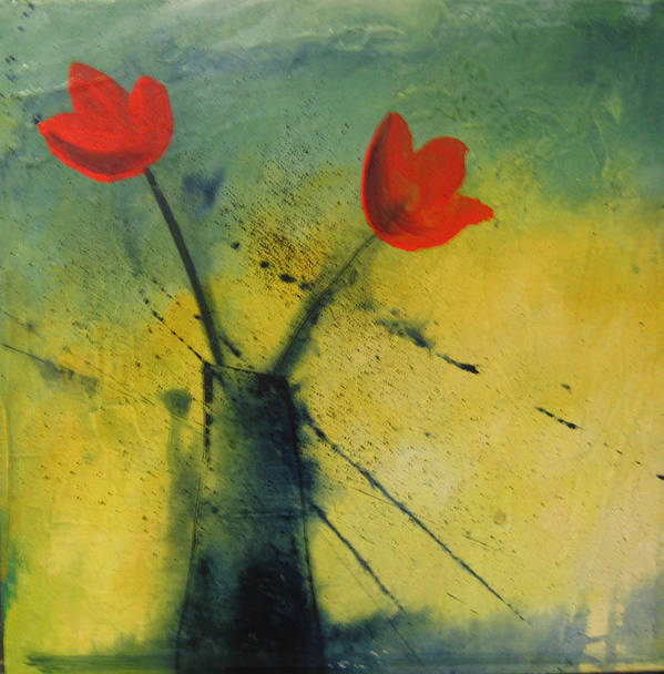 Painting Poster featuring the painting Red Tulips by Carrie Allbritton
