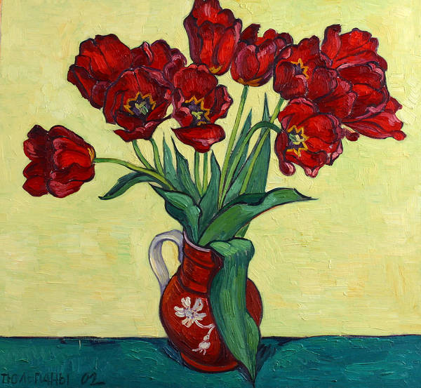 Tulip Poster featuring the painting Red Tulips In A Red Jug by Vitali Komarov