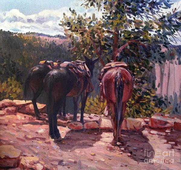 Mules Poster featuring the painting Resting on the Kaibab Trail by Donald Maier