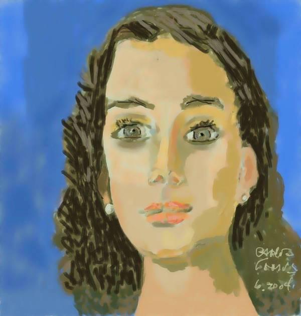 Paint Poster featuring the painting Retrato De Mi Hija M. Jose by Carlos Camus