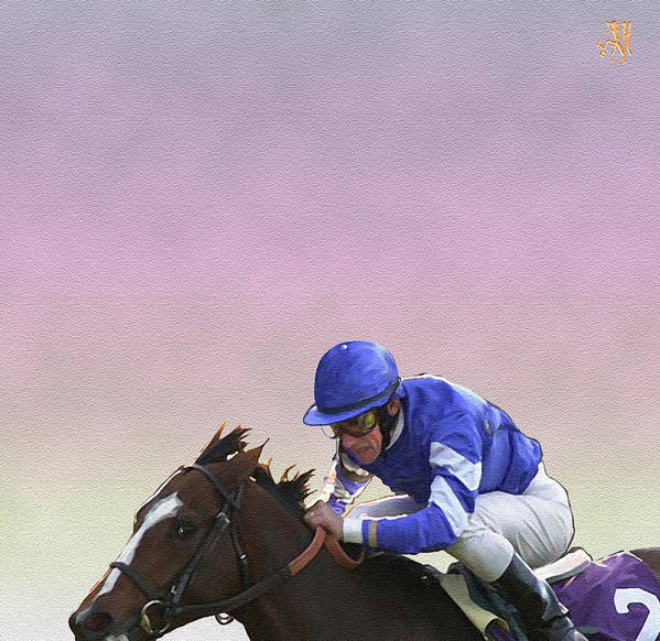 Horse Race Poster featuring the digital art Ride to Glory by John Helgeson