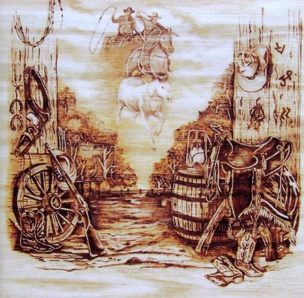 Western Poster featuring the pyrography Riders In The Sky by Danette Smith