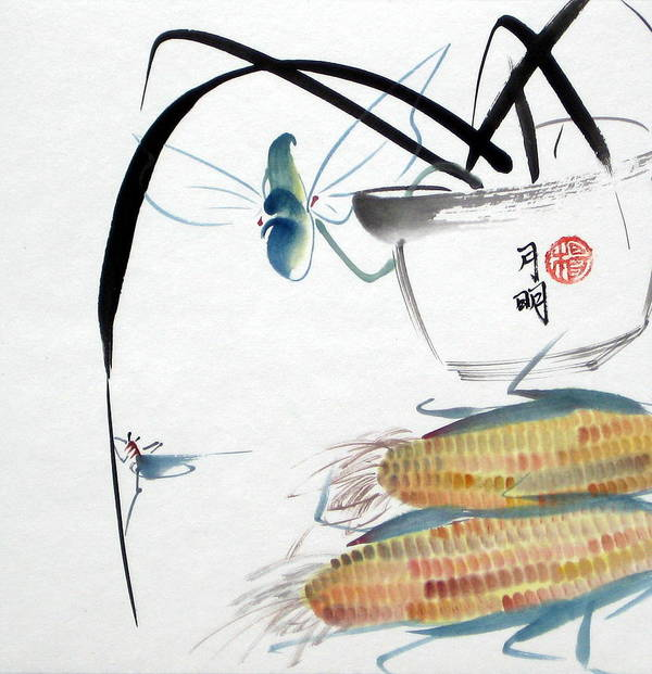 Corn Poster featuring the painting Ripen Corns by Ming Yeung