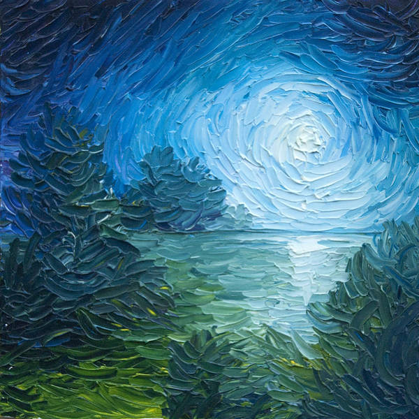 Nature; Lake; Sunset; Sunrise; Serene; Forest; Trees; Water; Ripples; Clearing; Lagoon; James Christopher Hill; Jameshillgallery.com; Foliage; Sky; Realism; Oils; Moon; Moonlight; Reflection; Blue; Lapis Poster featuring the painting River Moon by James Christopher Hill