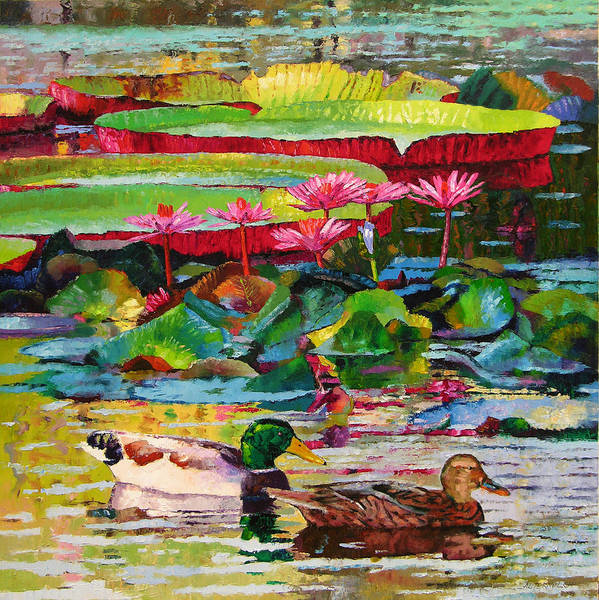 Mallard Ducks Poster featuring the painting Romancing Among the Lilies by John Lautermilch