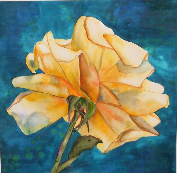 Floral Poster featuring the painting Rose From Behind by Diane Ziemski