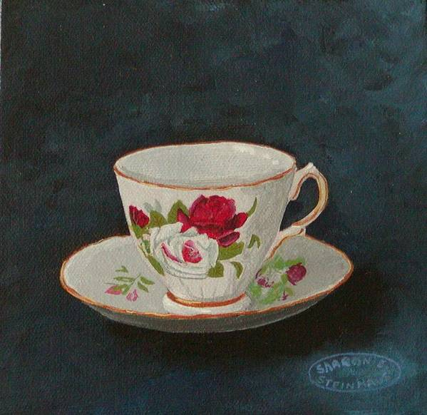 Rose Teacup And Saucer China Original Acrylic Poster featuring the painting Rose Teacup by Sharon Steinhaus