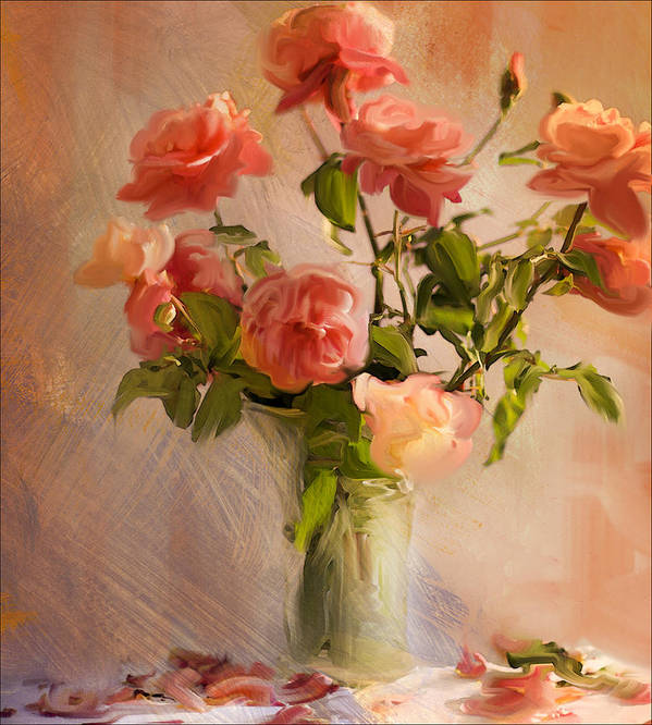 Pink Roses Poster featuring the photograph Roses La Belle by Linde Townsend