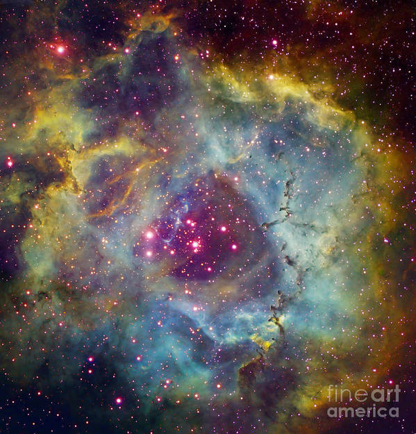 Astronomy Poster featuring the photograph Rosette Nebula Ngc 2244 In Monoceros by Filipe Alves