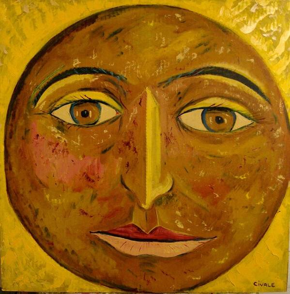 Face Poster featuring the painting Round face by Biagio Civale