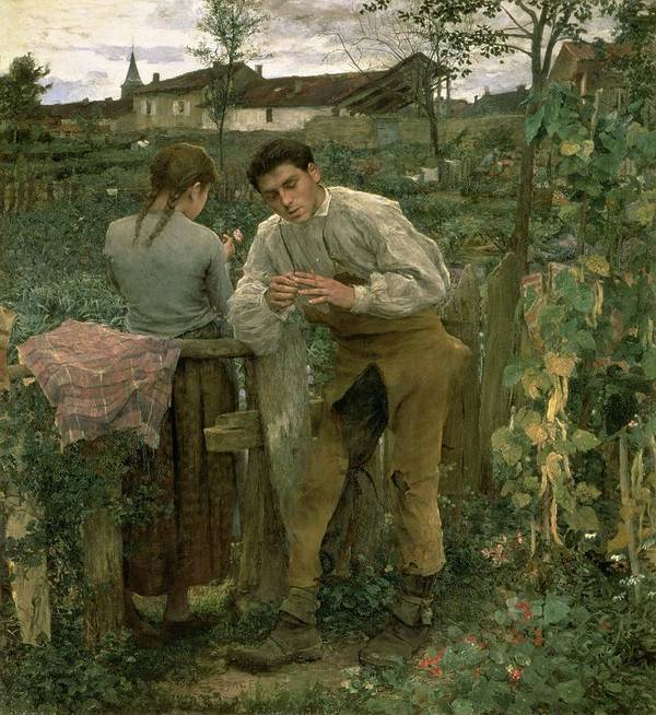 Valentine's Day Poster featuring the painting Rural Love by Jules Bastien Lepage