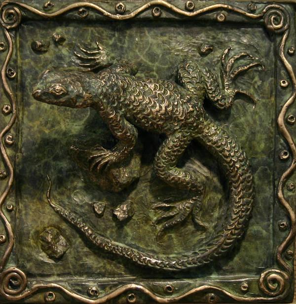 Miniature Poster featuring the sculpture Sagebrush Lizard by Dawn Senior-Trask