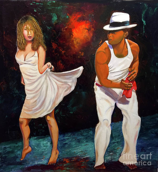 Dancing Cuba Painting Salsa Woman Poster featuring the painting Salsa 2 by Jose Manuel Abraham