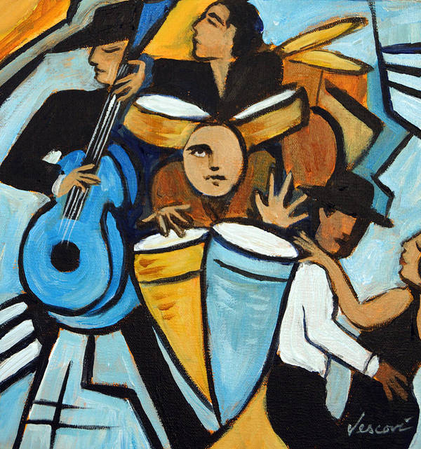 Cubist Salsa Dancers Poster featuring the painting Salsa Night by Valerie Vescovi