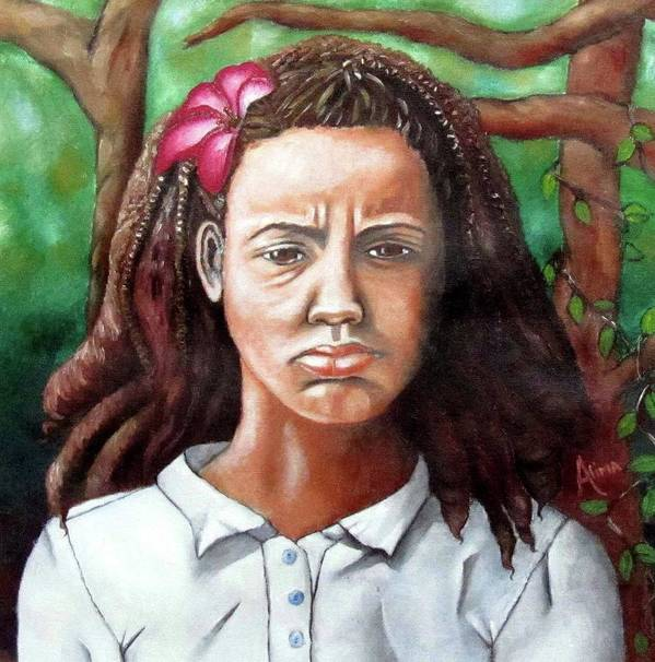 Portrait Poster featuring the painting Salty Girl by Alima Newton