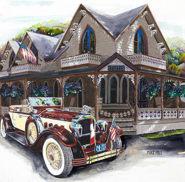 Packard Convertible 1928 American Canadian Flag Martha's Vineyard Gingerbread Car Automobile Classic Poster featuring the painting Sarah Elizah The Packard by Mike Hill