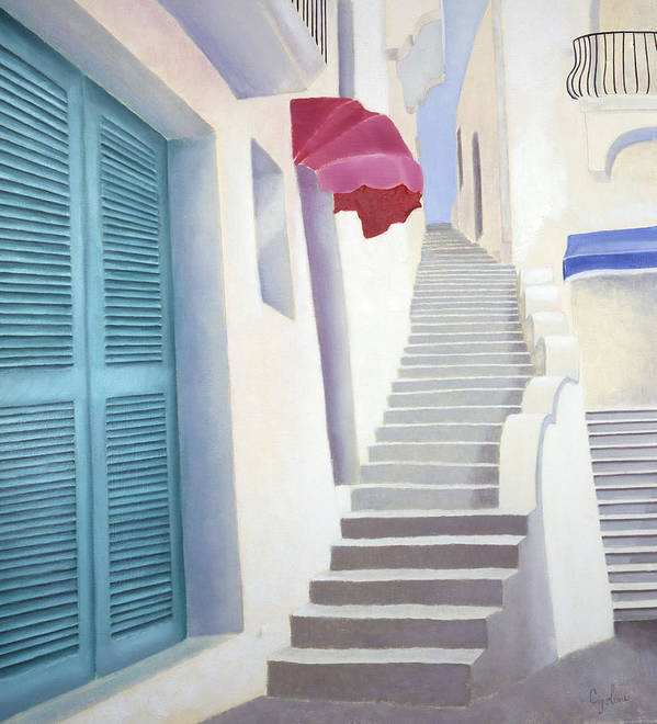Old Steps Poster featuring the painting Scalinata Antica by Gloria Cigolini-DePietro