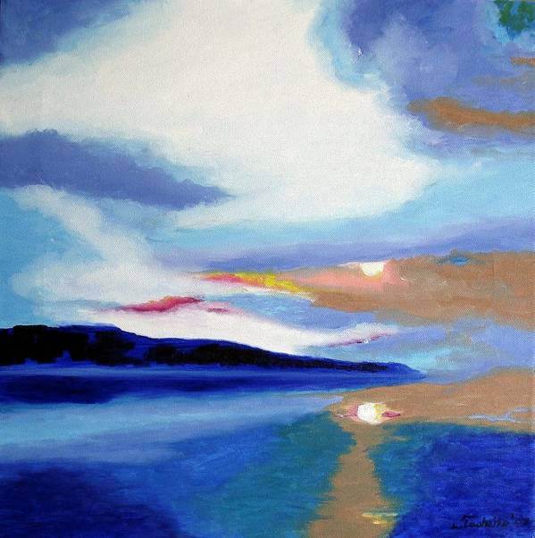 Sunset Poster featuring the painting Seascape 1 by Laura Tasheiko