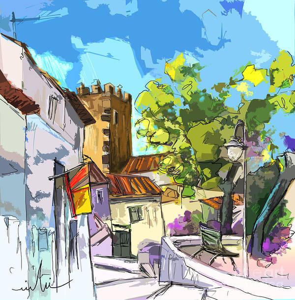 Painting Serpa Portugal Alentejo Travel Sketches Poster featuring the painting Serpa Portugal 01 bis by Miki De Goodaboom