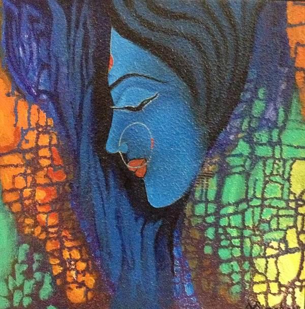 Shakti Blue Poster featuring the painting Shakti by Vibha Singh