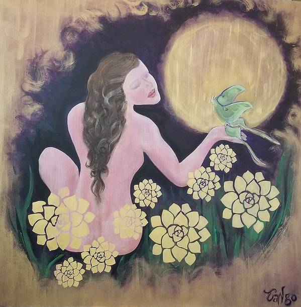 Woman Poster featuring the painting Shared Beauty Under The Golden Moon by Ron Tango Jr