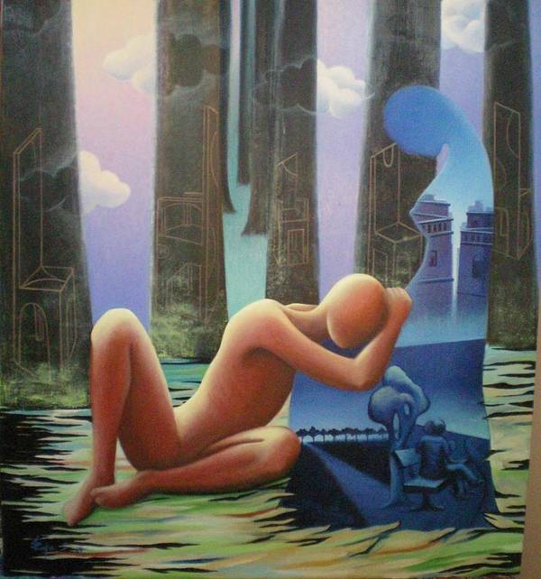Romantic Poster featuring the painting She And I by Raju Bose