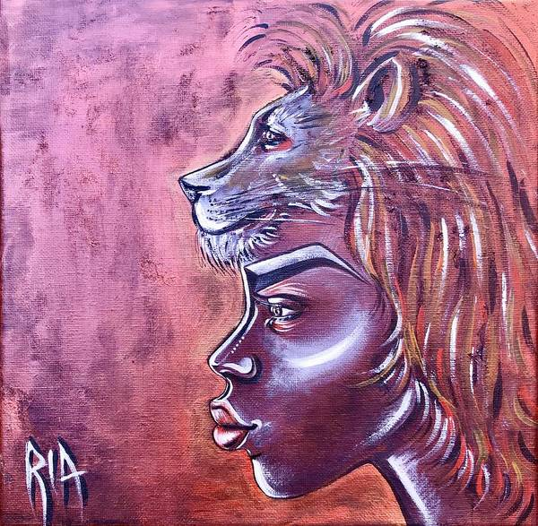 Lion Poster featuring the painting She Has Goals by Artist RiA