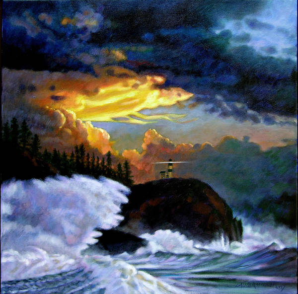 Ocean Poster featuring the painting Shelter From The Storm by John Lautermilch