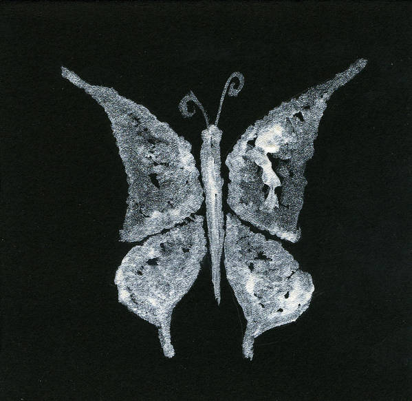 Butterfly Poster featuring the painting Silver Buterfly by Oudi Arroni