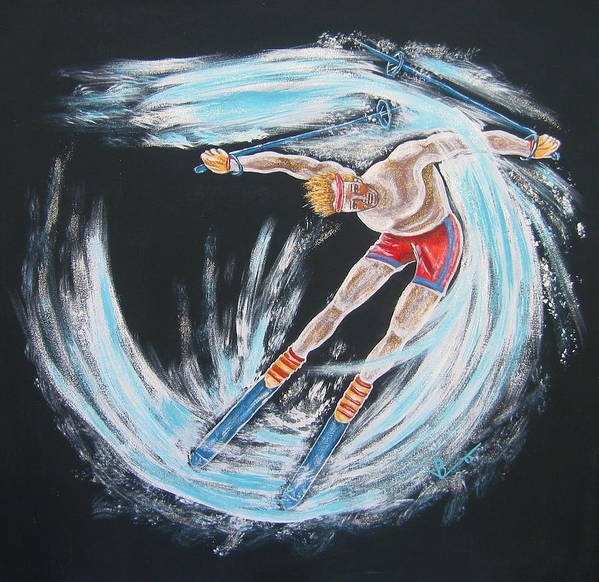 Abstract Sports Poster featuring the painting Ski Bum by V Boge